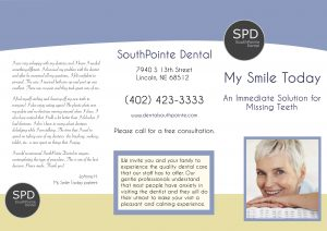 "Image of the outter portion of the ""My smile today"" brochure for a younger smile."