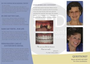 "Image of the innerr portion of the ""My smile today"" brochure for a younger smile."