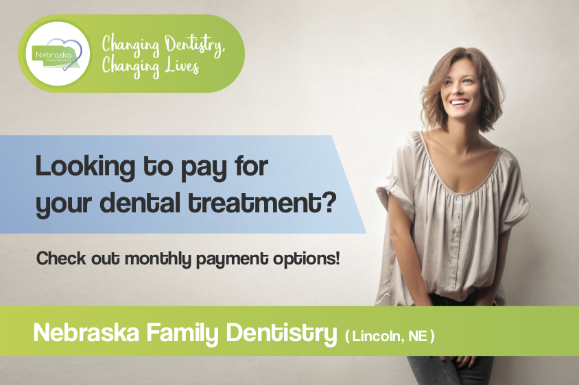 "Banner asking if you are ""Looking to pay for your dental treatmen?"" When you receive gentle family dentistry in Lincoln, NE at Southpointe Dental, we offer payment options."